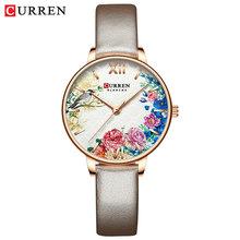 CURREN белые кожаные часы для женщин часы Мода цветок кварцевые наручные часы женские часы Reloj Mujer талисманы дамы подарок(Китай)