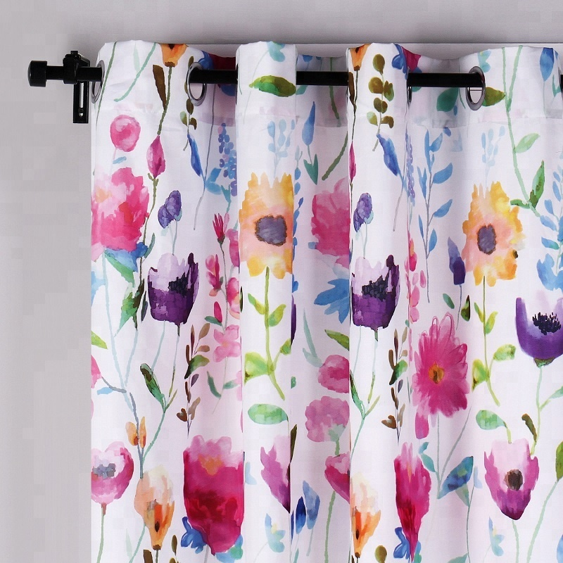 Package Custom Made Floral Printing Patio Room Window Decoration Drapery Curtain Panels For Bedroom Door Flower Printed Buy Floral Printed Curtain China Factory Living Room Design Window Curtains Designs Style Hotel