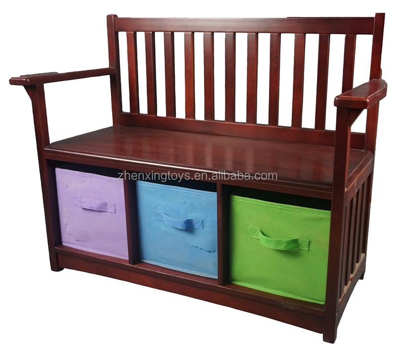 Коричневая деревянная скамейка с ящиком для хранения, деревянная скамейка с задней стенкой для детей