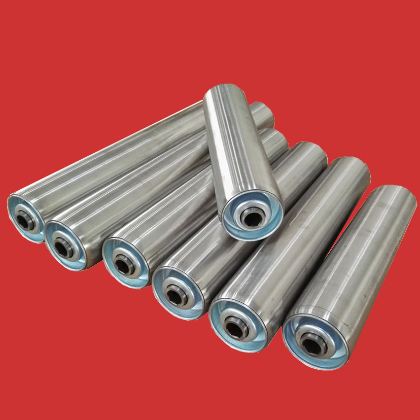 Stainless steel conveyor roller with hex shaft