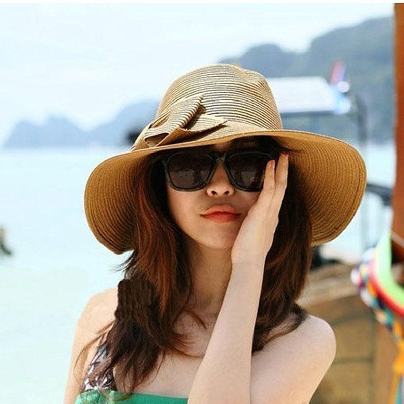 Compre 2018 Sombrero De Paja Bohemia Moda Verano Sombrero De Mujer Sun  Floppy Playa Sombrilla Visera Ancha Grande Borde Cap Girls Chapeau FemmeF80  A  40.37 ... e984304ac94