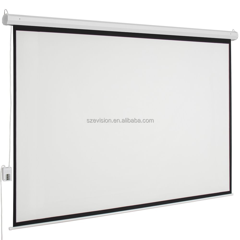 Remote Motorized Roll Up Projection Screen / Matte White Projector ...