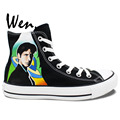 Wen Black Hand Painted Shoes Design Custom Sneakers The X Files Man Woman s High Top
