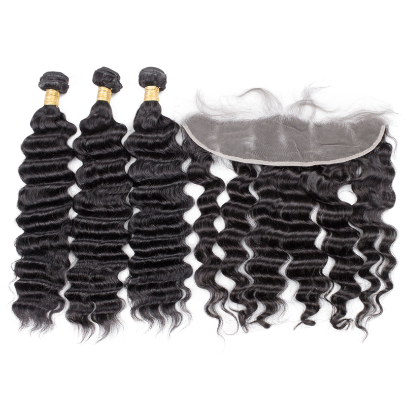 Free Shipping Brazilian Virgin Human Hair Loose Deep Wave Lace Frontal With Cuticle Aligned Deep Wave Hair Bundles