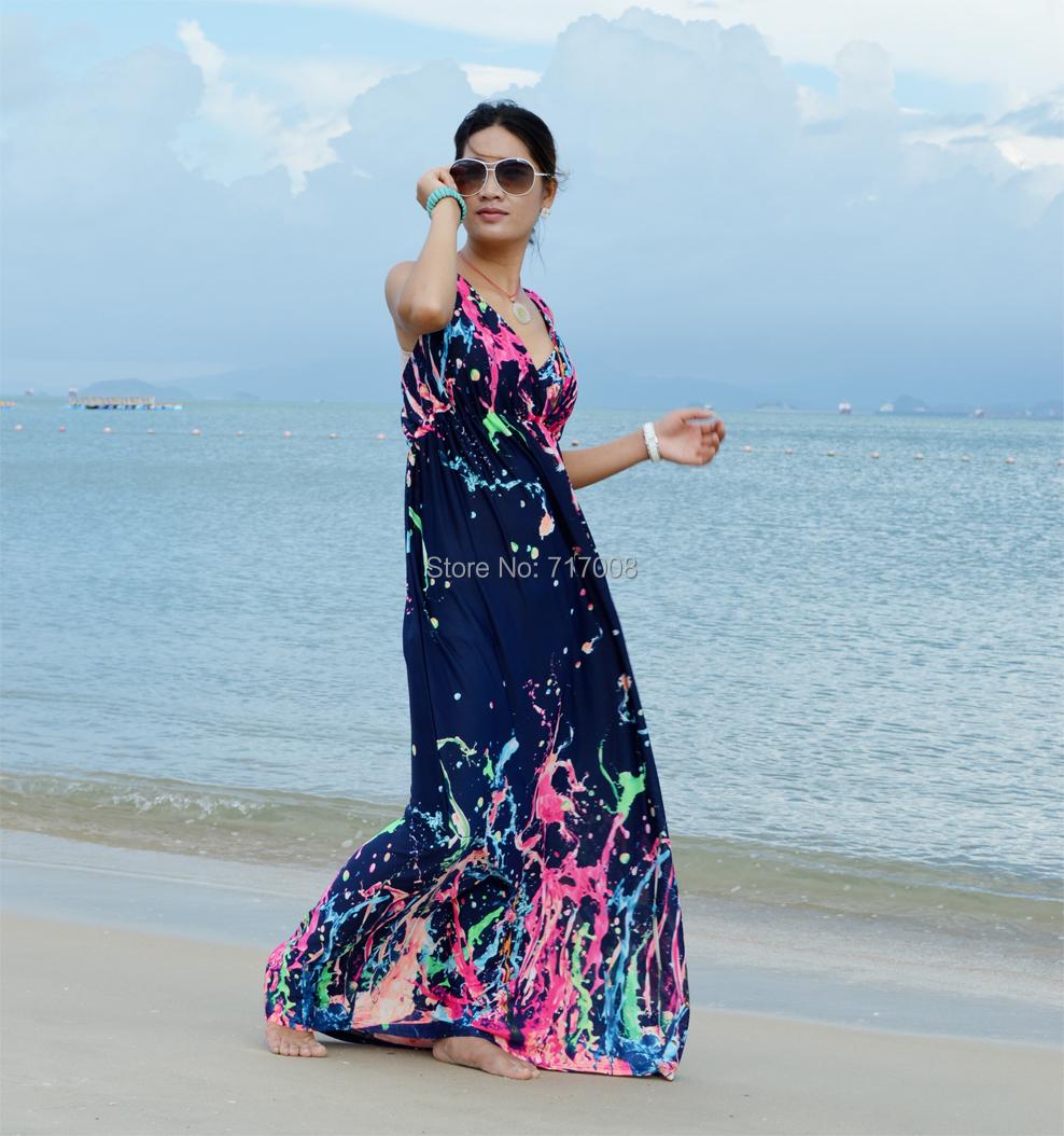2016 women long boho dress beach maxi dresses plus size flower print dress for women vestidos. Black Bedroom Furniture Sets. Home Design Ideas