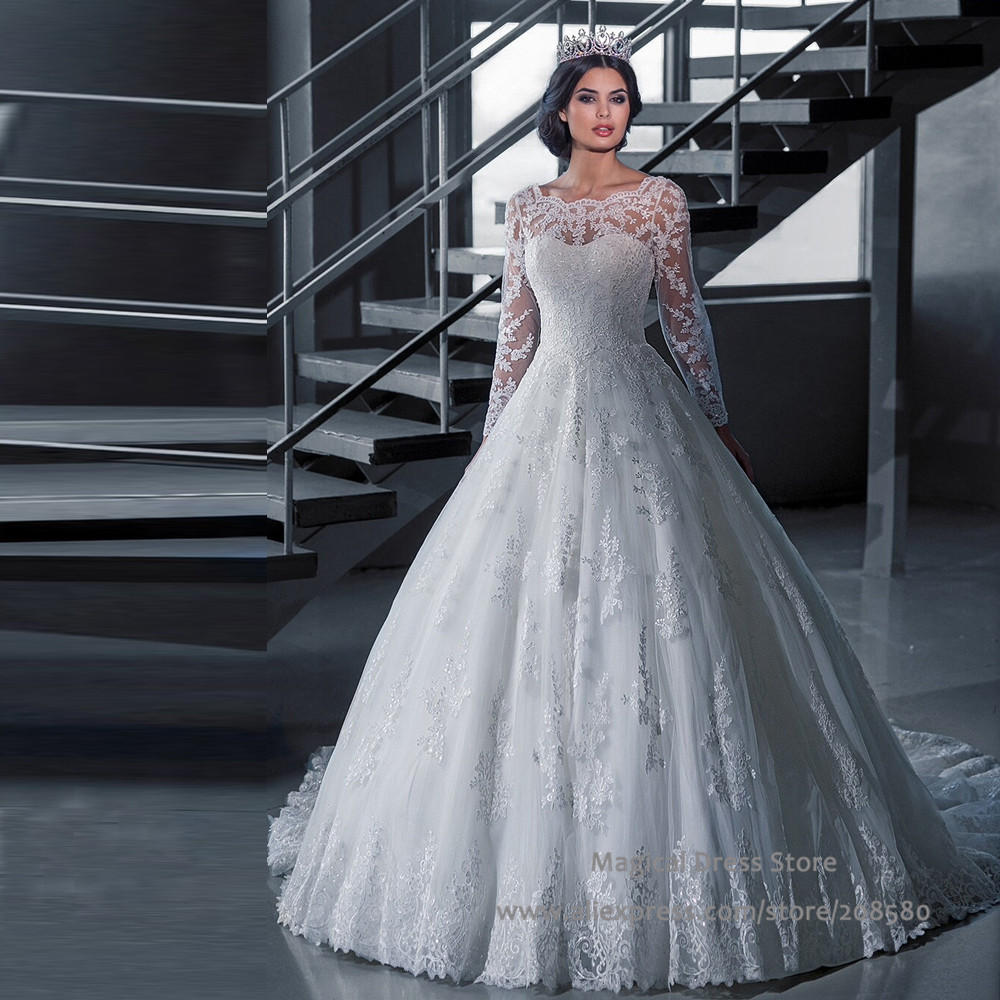 Princess Style Wedding Gowns: Chinese Long Sleeve Wedding Dress Lace Scoop Bridal Gowns