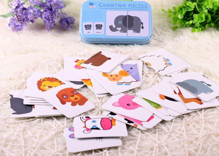 Детские младенческие 32 шт. флеш-карта головоломка познание головоломки форма-головоломка Когнитивное обучение раннего образования карты обучающие игрушки