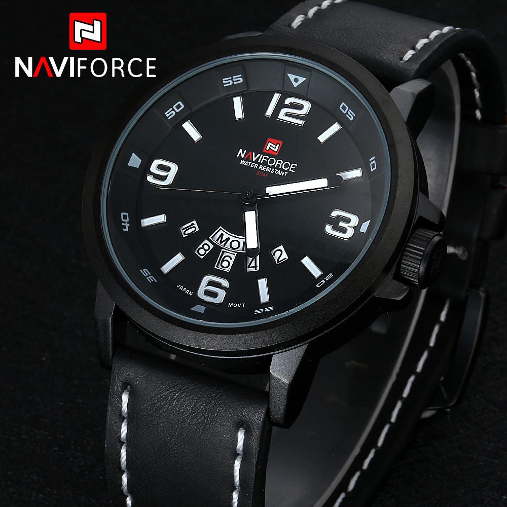 Naviforce календарная мужчины часы люксовый бренд водонепроницаемый мужская кожаная кварцевые военные часы дата день аналоговый спортивные мужчины наручные часы Relogio