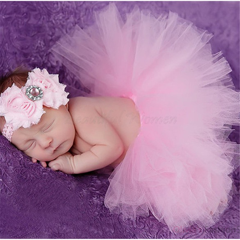 7Colors Infant Newborn Baby Girls Flower Headband Mesh Ball Gown Tutu Skirts Photography Accessory Prop For
