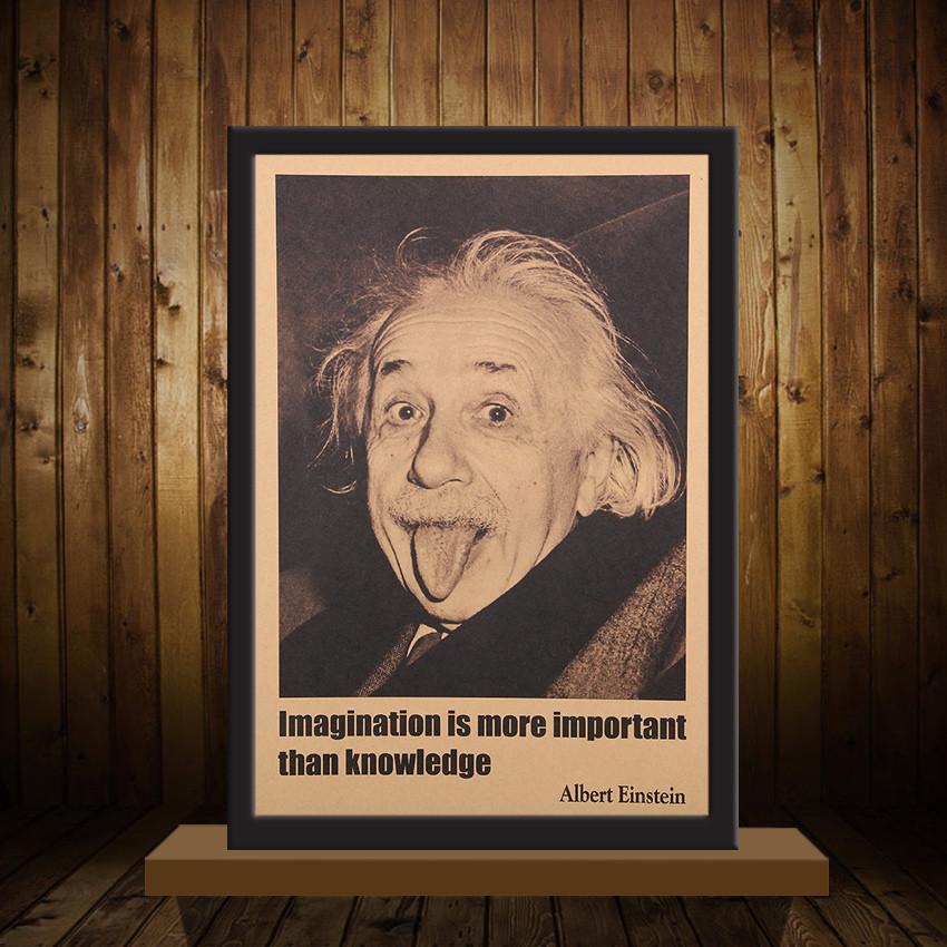Einstein Quotes Imagination Is More Important Than Knowledge: TIE LER Albert Einstein Poster Vintage Retro Paper Wall
