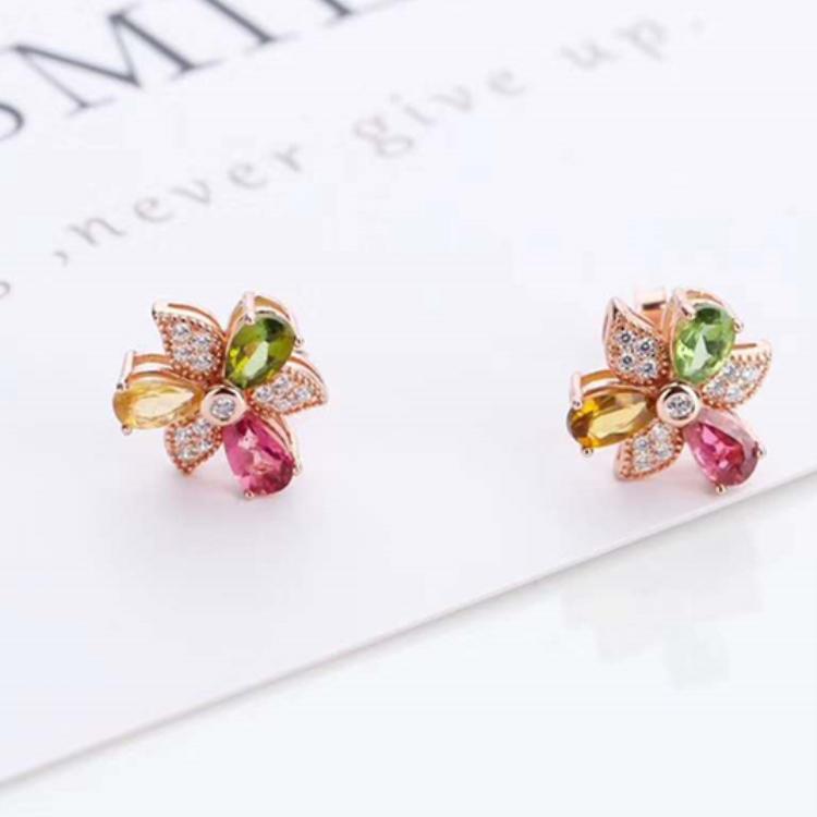 Rock it! Tourmaline earring with 925 Sterling Silver