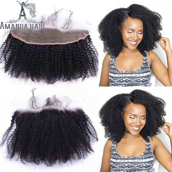 Factory Hot Sale Brazilian Human Virgin Hair Afro Kinky Curly Hair Frontal Closure