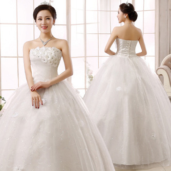 SLS058YC In Stock Plus Size 3XL Women Dress Strapless Wedding Frock Designs Appliqued Flowers Bride Use Bridal Wedding Dresses