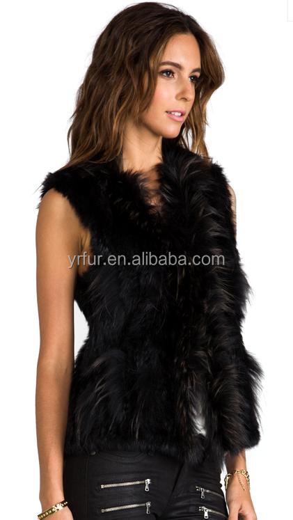 YRFUR Fashion YR589 Hot Sale Rabbit Raccoon Fashion Women Mexico Style Real Fur Vest