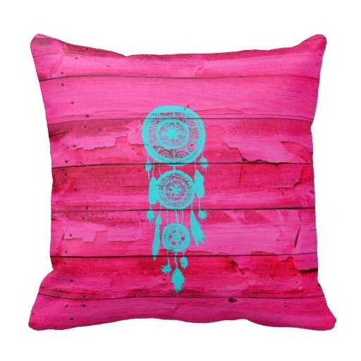 Pillow Cases Hipster Teal Dreamcatcher Girly Pink Fuchsia Wood Throw Pillow Case (Size: 45x45cm) Free Shipping