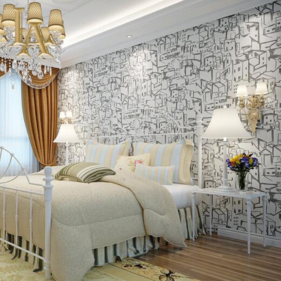 Abstract City Wallpaper Bedroom Living Room Wall Decor Light Grey