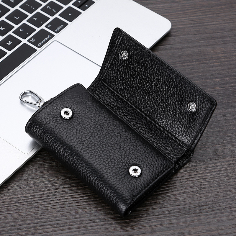 Custom logo service unisex trifold genuine leather key wallet holder with coin pocket