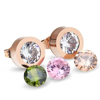 Fashion Rose Gold Stainless Steel Stud Earrings Supplies palace 4 Color Interchangeable Stone Earring For Women