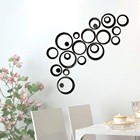 Modern Decors Family DIY 3D Mirror Acrylic Wall Stickers Creative Modern Circle Ring Acrylic Home Decors For Family