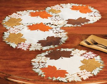 Maple Leaf Embroidered Fall Table Linens Placemats Set Of 4 View Embroidery Table Placemats Oem Product Details From Shanghai Yexie International Trade Co Ltd On Alibaba Com