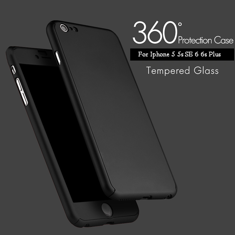 8dd8650bd21fa iPhone 6-360° Extreme Thin Protective Case With Tempered Glass Screen Cover -Black