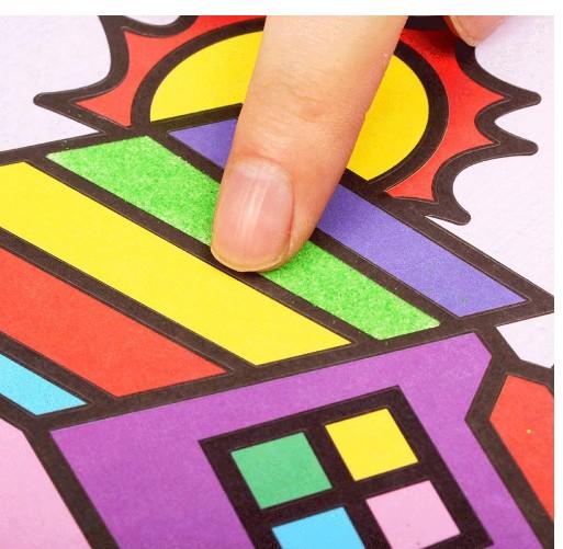 children sand painting DIY drawing toys sand art kit set kids coloring DIY crafts educational toys for children