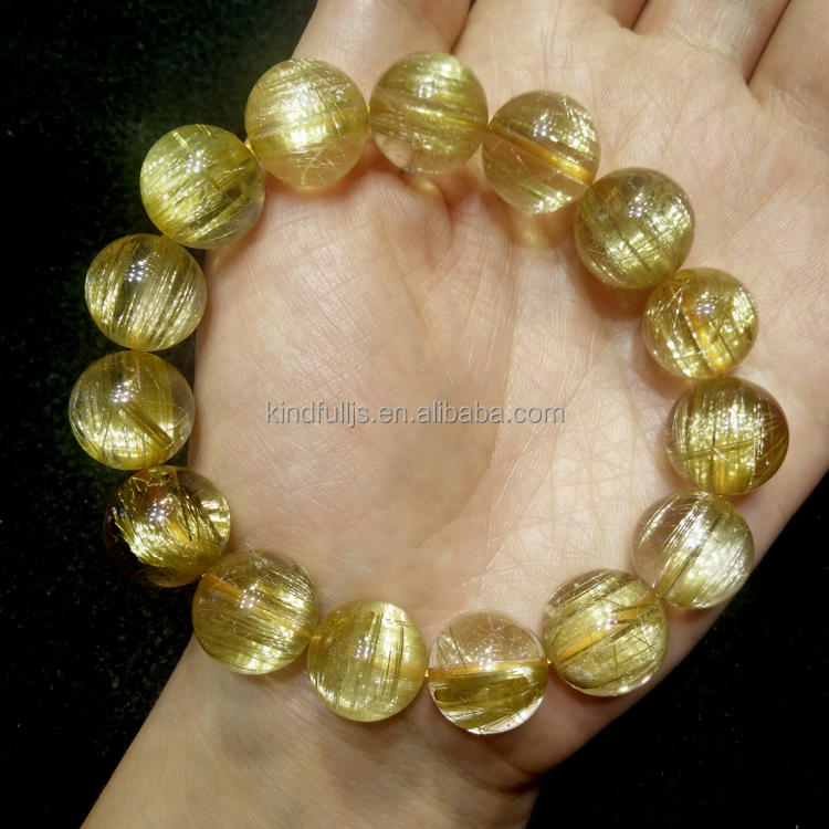 Top quality 100% natural rutilated gold quartz bracelet