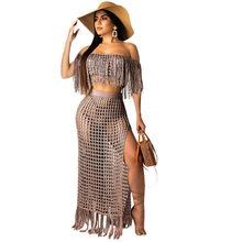 Женский комплект 2 шт. с открытыми плечами Echoine, прозрачный сетчатый топ с кисточками и короткими рукавами + длинное платье(Китай)