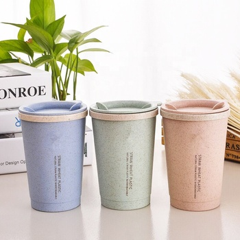 Portable small reusable coffee cup eco friendly travel wheat straw custom mugs
