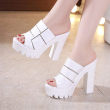 Женские кожаные туфли на платформе GKTINOO, летние шлепанцы с открытым носком, Белые Офисные шлепанцы на высоком каблуке размера плюс 34-43, 2020(Китай)