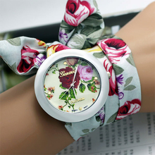 New design Ladies flower cloth wrist watch fashion women dress watch high quality fabric watch sweet girls watch