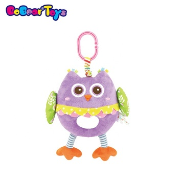 BobearToys stuffed animal owl soft pull string vibration baby mobile musical plush toy pull string toys with lullaby music