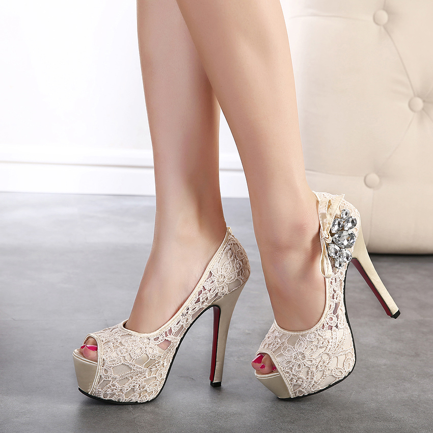 Lace Peep Toe Bridal Shoes