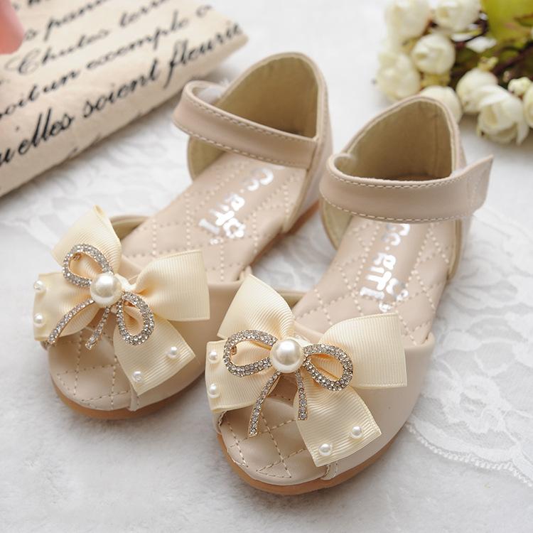 Детские сандалии для девочек B10960A с милым бантом и жемчугом, обувь для принцесс, сандалии с открытым носком для девочек