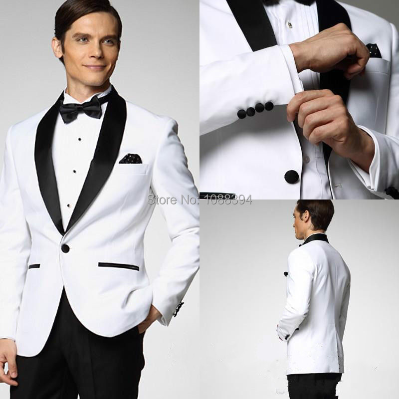 2018 Men Wedding Tuxedos White Jacket Black Lapel Wedding Suits For Men Custom Best Man Suit Groom Tuxedo Jacket Pants Bow