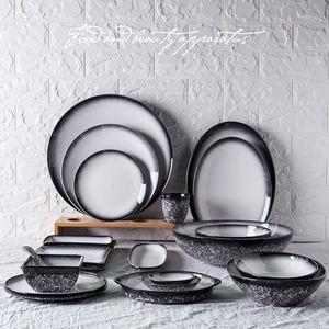 Home use light blue dinnerware set ceramic flatware snowflakes gradient white porcelain cutlery set