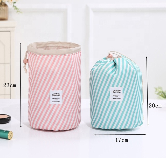 New arrival string drawstring women cosmetic storage bag, portable cylinder travel toiletry bag, fashion custom makeup bag