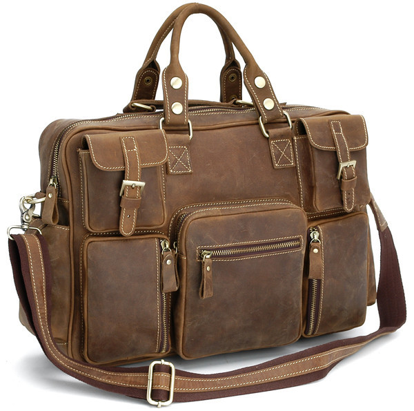 Free Shipping Vintage Style Mens genuine leather large