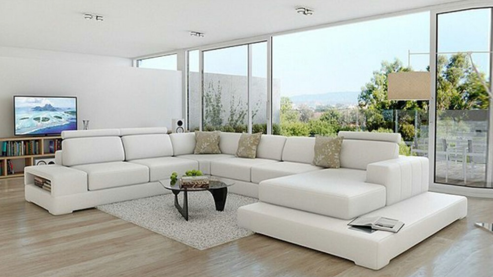 U shape living room leather couch-in Living Room Sofas