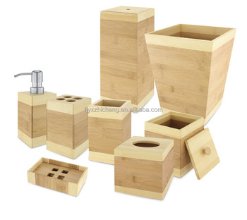 Wholesale Bamboo Wooden Bathroom Accessory Set, Natural/Bamboo