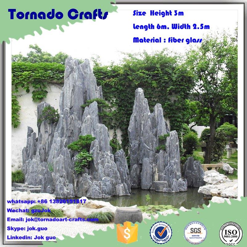 Guangzhou factory high quality design fiberglass rock waterfall rockery artificial fake stone water curtain fountain decor