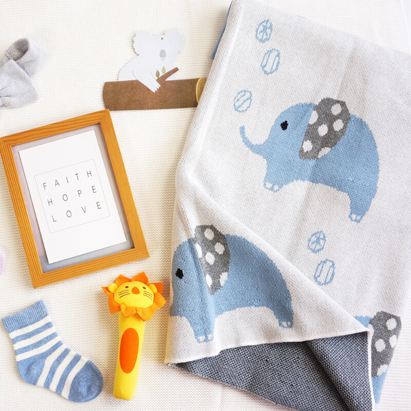 Ins Cute Elephant Baby Cotton Blanket Knitted Stroller Blanket For Baby Buy Blanket For Baby Baby Cotton Blanket Baby Blanket Knitted Product On Alibaba Com