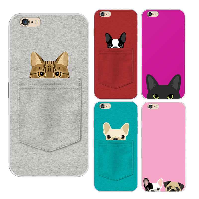 separation shoes 63826 cd013 Lovely Pocket Cat Pocket dog Soft TPU Cover Case For iPHONE 6 6S 5 5S 4 4S  5S 7 7PLUS 6PLUS 6S PLUS Samsung Galaxy S3 S5 S6 S7