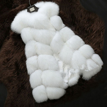 2017 Fashion Luxury Thick Warm Vest Faux Fox Fur Jacket Solid Color White Fox Fur Vests For Girls