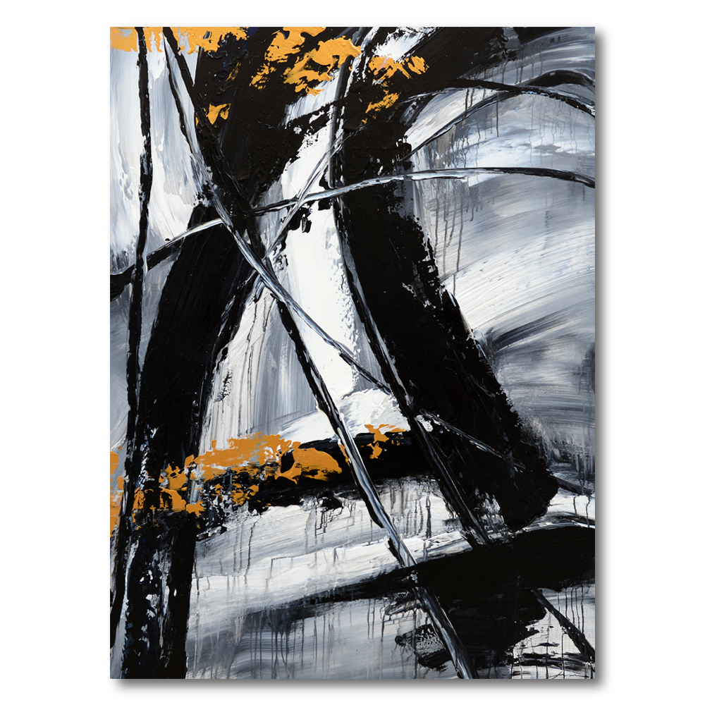 Wholesale Hand Painted Black and White Abstract Canvas Wall Art Painting Pictures For Living Room
