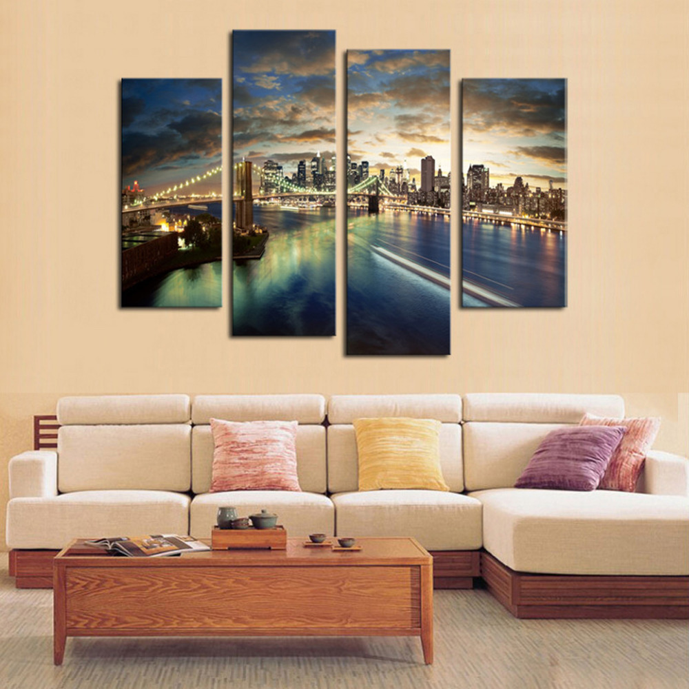 Large Wall Pictures For Living Room: 4 Panels City View Large HD Canvas Print Painting For