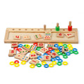 Baby Math Toy Rainbow Rings Dominos Preschool Training Teaching Aids Board Wooden Math Toy Juguete Oyuncak