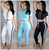 women plain tracksuit sport fitness 2pcs hoodies crop top long Pant Jumpsuits Set