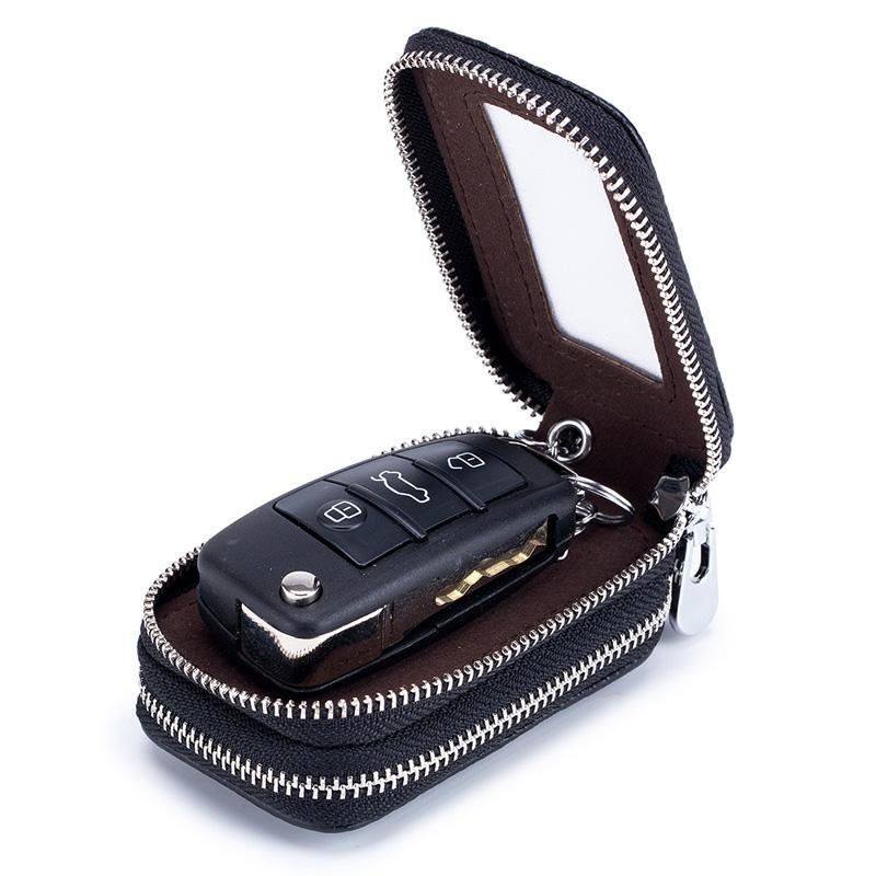 Genuine leather double zipper car key holder key case wallet men women