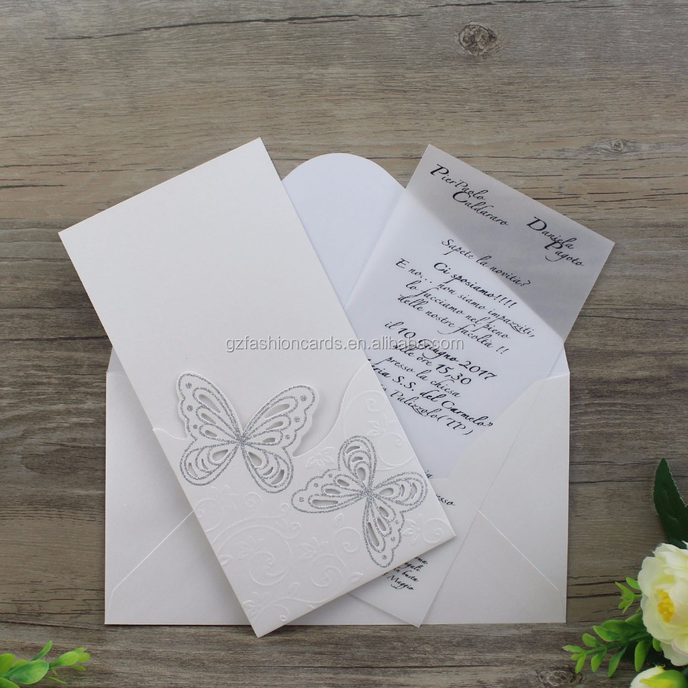 Best Online Posh Cutout Butterfly Embossed Wedding Invitations